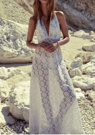 Solid Lace Floral Halter Beach Cover Up