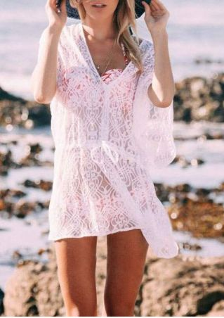 Solid Lace Drawstring Beach Cover Up without Necklace