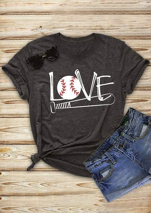 Love Baseball Bat Short Sleeve T Shirt Bellelily