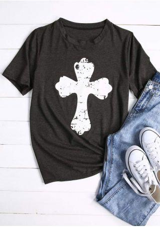 Cross Short Sleeve O-Neck T-Shirt