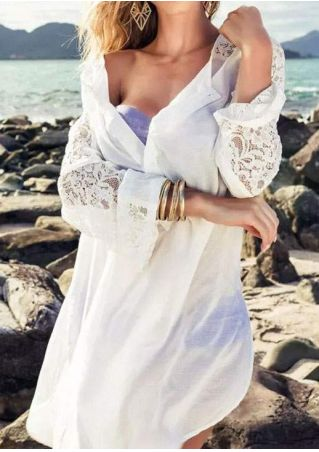 Solid Lace Floral Beach Cover Up