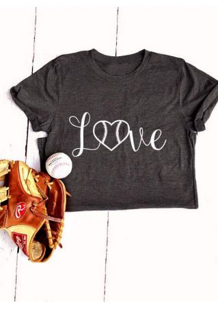 Love Baseball Heart Short Sleeve T-Shirt