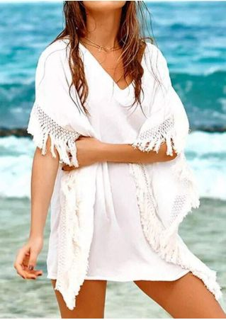 Solid Tassel Splicing Beach Cover Up without Necklace