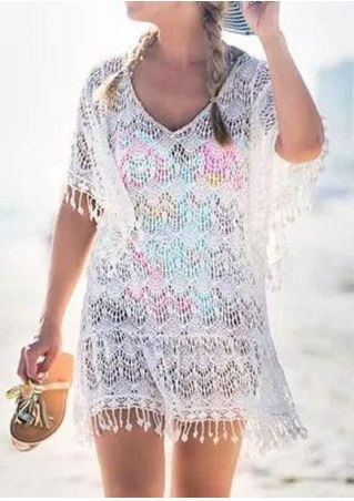 Solid Lace Pompon Beach Cover Up