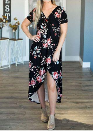 Floral Asymmetric Wrap Maxi Dress without Necklace