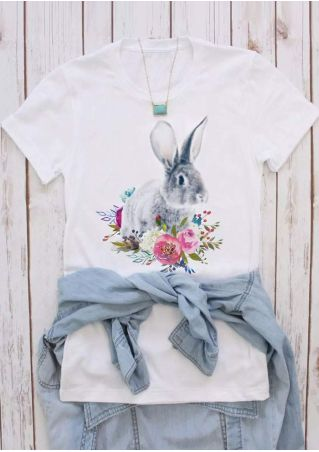 Floral Rabbit Short Sleeve T-Shirt