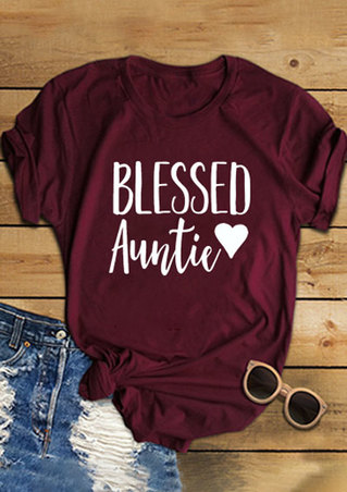 Blessed Auntie Heart O-Neck T-Shirt