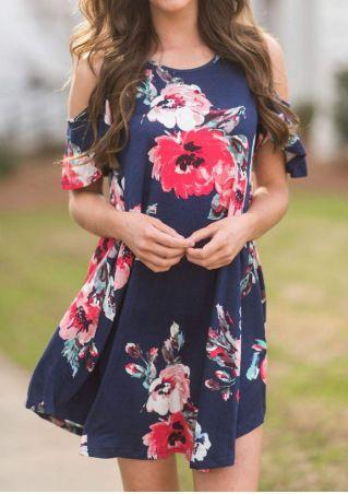Floral Cold Shoulder Mini Dress