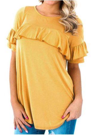 Solid Ruffled Layered Short Sleeve Blouse