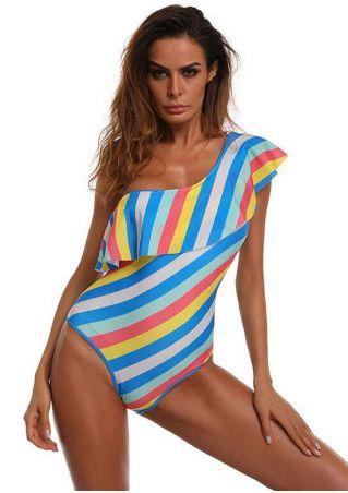 Striped Flouncing One Shoulder Swimsuit