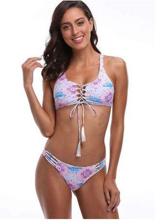 Printed Lace Up Hollow Out Bikini Set