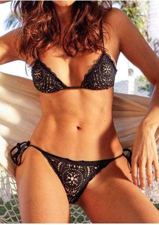 Solid Halter Tie Bikini Set