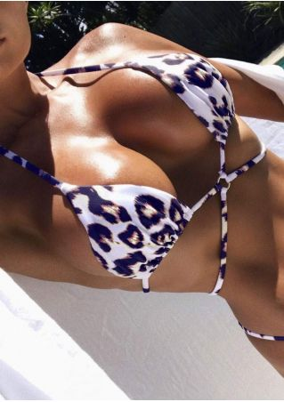 Leopard Printed Circle Cross Bikini Set