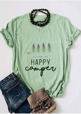 Happy Camper Tree V-Neck T-Shirt