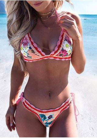 Floral Knitted Halter Bikini Set without Necklace