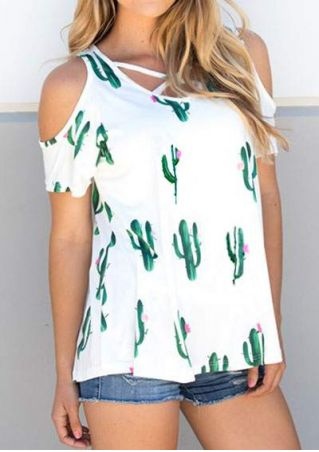 Cactus Criss-Cross Cold Shoulder Blouse