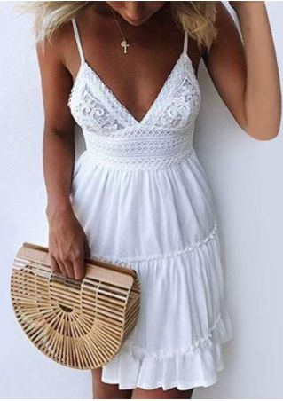 Solid Lace Floral Spaghetti Strap Mini Dress without Necklace
