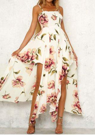 Floral Asymmetric Spaghetti Strap Maxi Dress