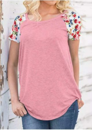 Floral Short Sleeve Baseball T-Shirt