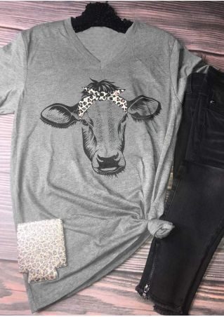 Leopard Printed Cow V-Neck T-Shirt