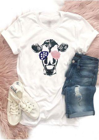 American Flag Sunglasses Cow T-Shirt
