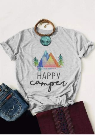 Happy Camper Mountain Tree T-Shirt