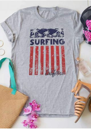 Surfing California Palm O-Neck T-Shirt