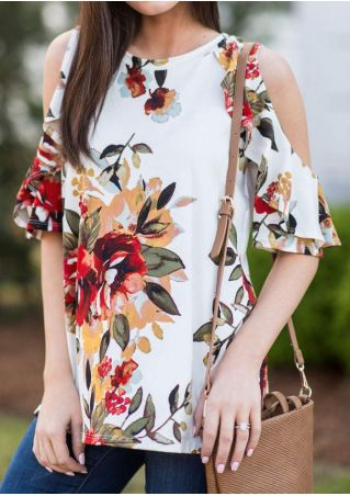 Floral Layered Cold Shoulder Blouse