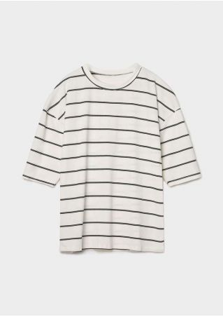 Striped Three Quarter Sleeve T-Shirt