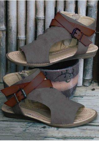 Denim Buckle Zipper Flat Sandals