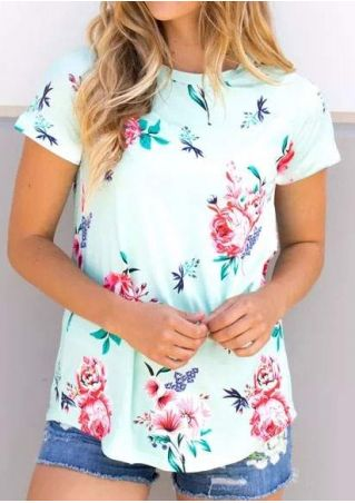Floral Striped Detail O-Neck T-Shirt