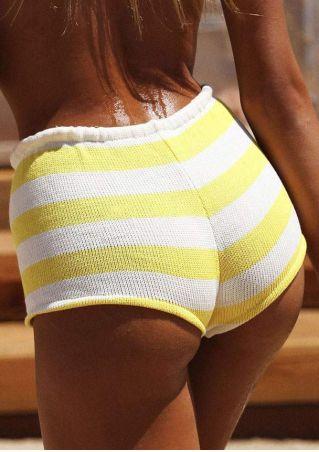 Striped Knitted Tassel Splicing Beach Shorts
