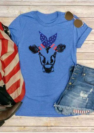 Cow American Flag Headband T-Shirt