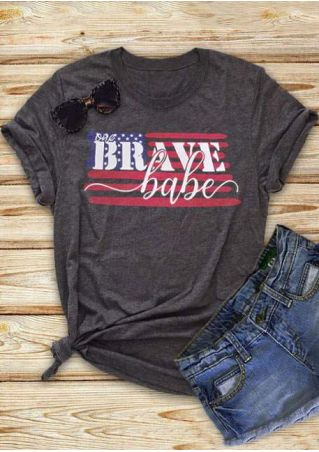 One Brave Babe American Flag T-Shirt