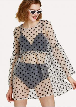 Polka Dot Frill See-Through Cover Up