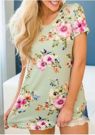 Floral Short Sleeve O-Neck T-Shirt