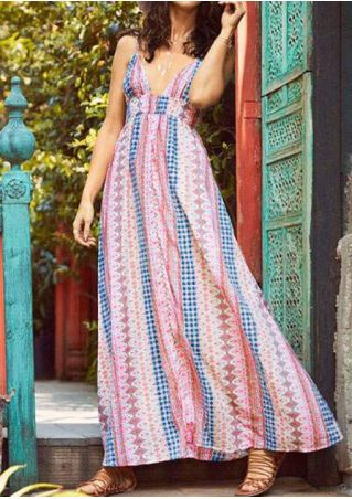 Printed Spaghetti Strap Maxi Dress without Necklace