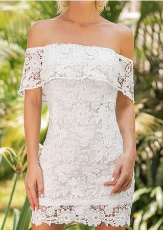 Solid Lace Floral Off Shoulder Bodycon Dress