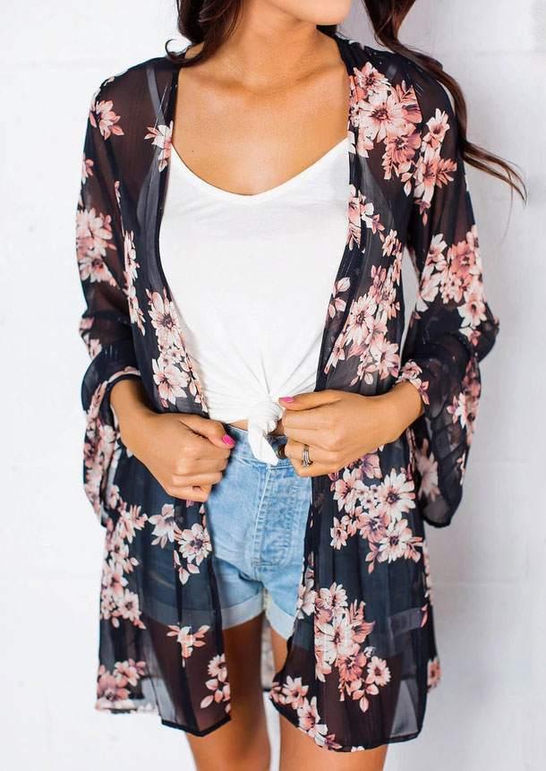 Floral Printed Long Sleeve Cardigan