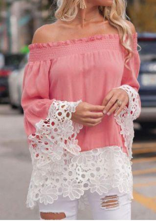 Lace Floral Off Shoulder Blouse without Necklace