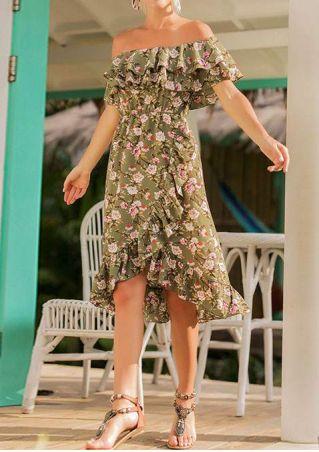 Floral Ruffled Off Shoulder Casual Dress