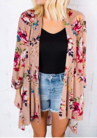 Floral Printed Asymmetric Cardigan