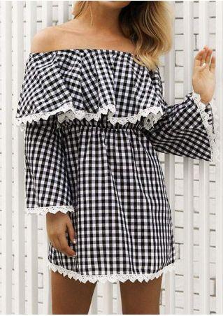 Plaid Lace Splicing Off Shoulder Mini Dress