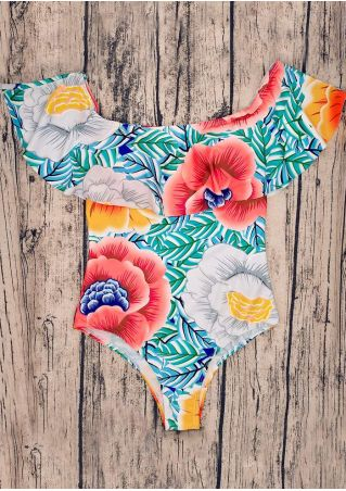 Floral Flouncing Off Shoulder Swimsuit