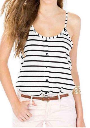 Striped Button O-Neck Camisole
