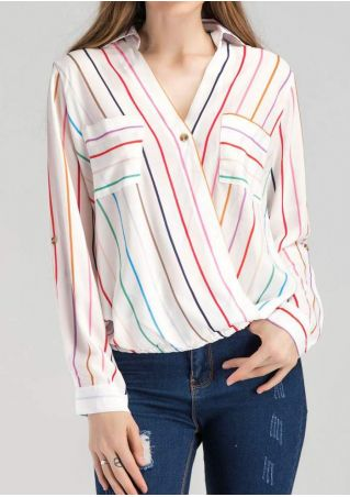 Striped Wrap Turn-Down Collar Shirt