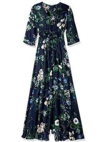 Floral Tassel Splicing Button Maxi Dress