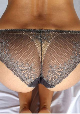 Lace Splicing See-Through Panties