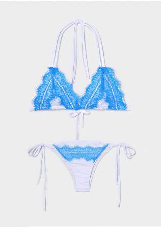Lace Splicing Halter Bikini Set