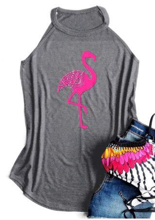 Flamingo Printed O-Neck Tank